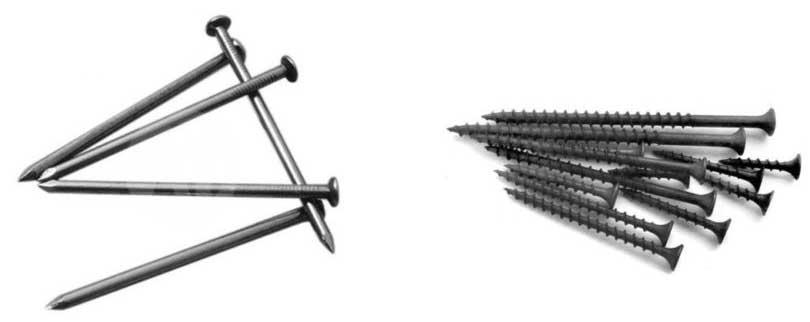 Что выбрать гвозди или саморезы
